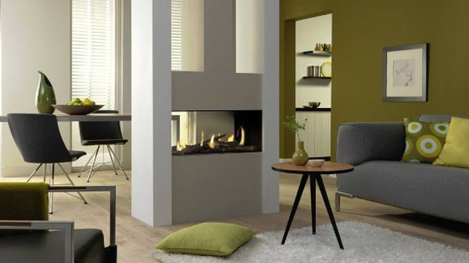 modern enclosed fireplace