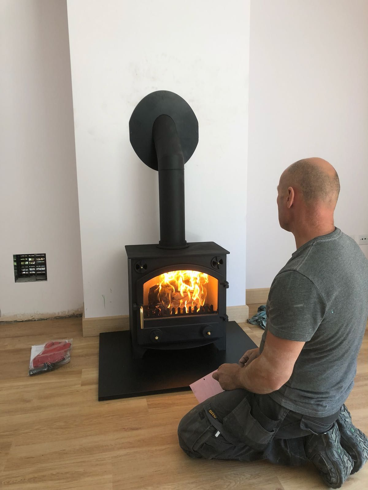 Wood burning stove installation Surrey
